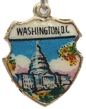 Washington Dc Us Capitol 9 Silver Travel Shield Charm Ebay